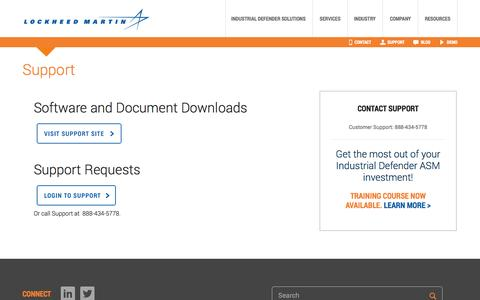 Screenshot of Support Page lockheedmartin.com - Support | Industrial Defender Solutions - captured Sept. 16, 2014