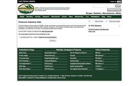 Screenshot of Jobs Page nssf.org - National Shooting Sports Foundation - captured Nov. 4, 2014
