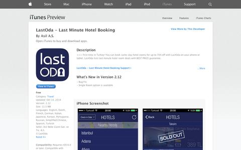Screenshot of iOS App Page apple.com - LastOda - Last Minute Hotel Booking on the App Store on iTunes - captured Oct. 22, 2014