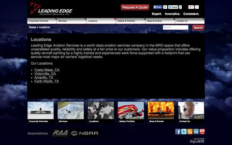 Screenshot of Locations Page leadingedgecorp.com - Leading Edge Aviation Services Aircraft Maintenance LocationsLeading Edge Aviation Services - captured Oct. 2, 2014