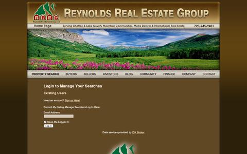 Screenshot of Login Page reynoldsrealestategroup.com - Log in to Manage Your Saved Searches of Colorado Homes & Real Estate - captured Oct. 20, 2018