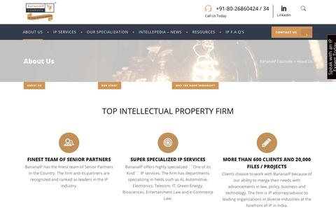 Screenshot of About Page bananaip.com - About BananaIP | Top IP Firm in India | BananaIP Counsels - captured Aug. 24, 2019