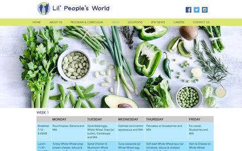 Screenshot of Menu Page lilpeoplesworld.com - Lil' People's World - Daycare & Childcare   Menu - captured Dec. 13, 2018