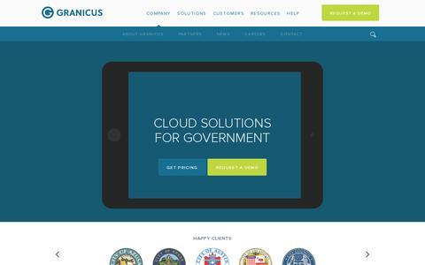 Screenshot of Home Page granicus.com - Home Page | Granicus - captured July 17, 2014