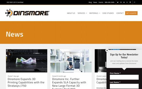 Screenshot of Press Page dinsmoreinc.com - News | Dinsmore Inc. - captured Dec. 15, 2018