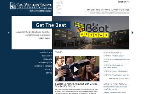 Screenshot of Home Page case.edu - Case Western Reserve University - One of the nation's top universities and the best college in Ohio - captured July 10, 2014