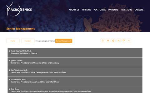 Screenshot of Team Page macrogenics.com - Senior Management | MacroGenics, Inc. - captured Oct. 1, 2018