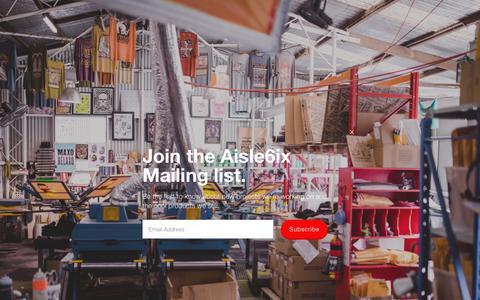 Screenshot of Home Page aisle6ix.com - Aisle6ix Industries - captured Oct. 1, 2018