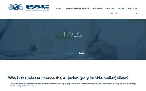 Screenshot of FAQ Page pac.com - FAQs - PAC Worldwide - captured Aug. 17, 2018