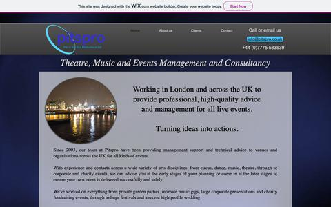 Screenshot of Home Page pitspro.co.uk - Pitspro - Theatre, Music and Events Management and Consultancy - captured Nov. 4, 2018