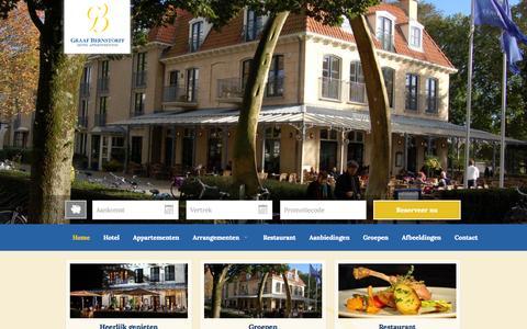 Screenshot of Home Page bernstorff.nl - Hotel Graaf Bernstorff | Officiële website | Hotel – Appartementen – Restaurant – Schiermonnikoog - captured Oct. 3, 2014