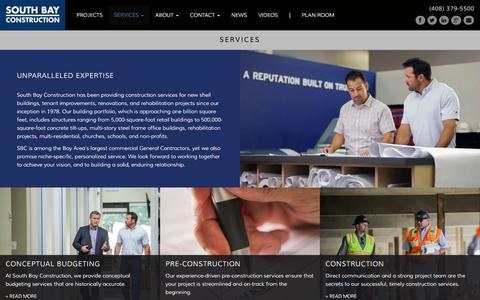 Screenshot of Services Page sbci.com - Construction Services Bay Area - captured Feb. 15, 2016