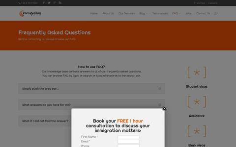 Screenshot of FAQ Page immigrationcentre.co.nz - FAQ - immigrationcentre.co.nz - captured Oct. 3, 2014