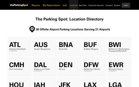 Screenshot of Locations Page theparkingspot.com - Off-Site Airport Parking Local Directory | The Parking Spot - captured Aug. 14, 2016