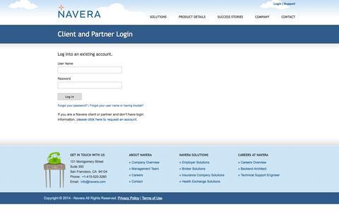 Screenshot of Login Page navera.com - Navera | Client and Partner Login - captured Sept. 16, 2014