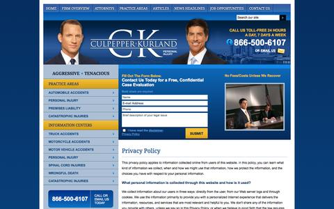 Screenshot of Privacy Page ckfirm.com - Privacy Policy | Culpepper Kurland | - captured Oct. 3, 2014
