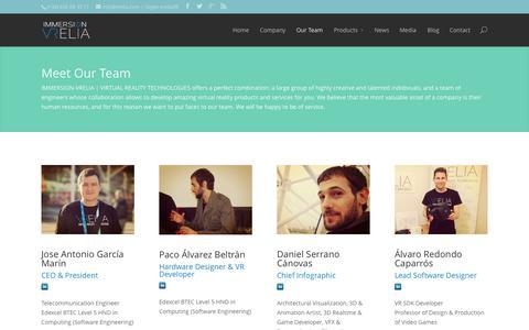 Screenshot of Team Page vrelia.com - Our Team - VRELIA - captured Oct. 7, 2014