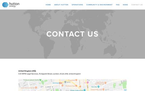 Screenshot of Contact Page huttonenergy.com - Contact Us — Hutton Energy - captured Feb. 14, 2019