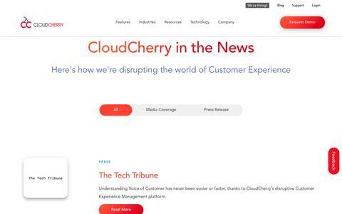 Screenshot of Press Page cloudcherry.com - CloudCherry Media Coverage | CloudCherry Press Release - captured May 15, 2019