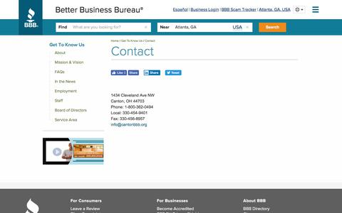Screenshot of Contact Page bbb.org - BBB Canton Contact Information - captured Aug. 10, 2019