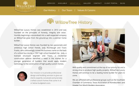 Screenshot of About Page FAQ Page Team Page willowtree.us - About Us - Custom Homebuilders Remodeling Construction Southlake - captured Aug. 19, 2019