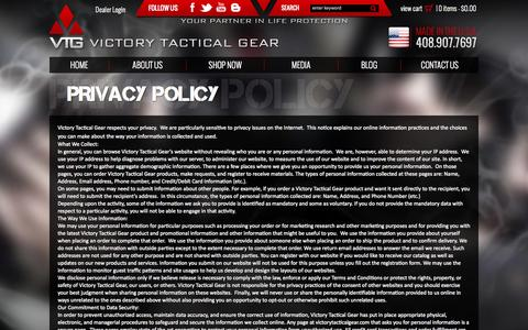Screenshot of Privacy Page victorytacticalgear.com - Privacy Policy | Victory Tactical - captured Nov. 5, 2014