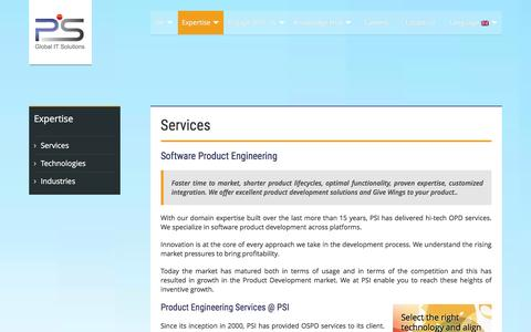 Screenshot of Services Page thepsi.com - Expertise | Software Product Development Services | The PSI - captured Jan. 17, 2016