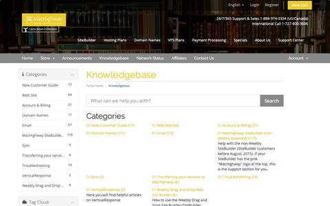 Screenshot of Support Page machighway.com - Knowledgebase - MacHighway - captured Nov. 5, 2018