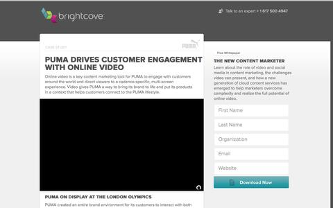 Screenshot of Landing Page brightcove.com - Brightcove | PUMA Drives Customer Engagement with Online Video - captured Feb. 24, 2016