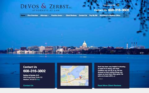 Screenshot of Home Page wi-atty.com - DeVos & Zerbst, S.C., Madison, Wisconsin Attorneys - captured Oct. 5, 2014