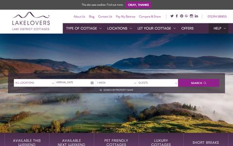 Screenshot of Home Page lakelovers.co.uk - Lake District Cottages | Self Catering Lake District Holiday Cottages - captured May 13, 2017