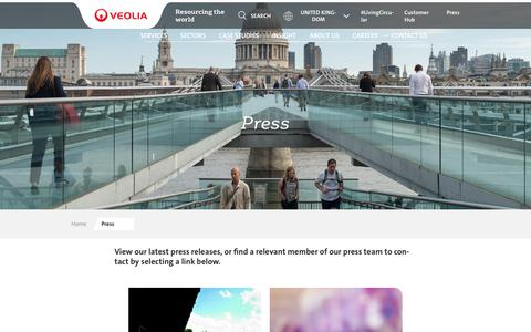 Screenshot of Press Page veolia.co.uk - Press Releases and Contacting The Press Team | Veolia UK - captured Nov. 7, 2019