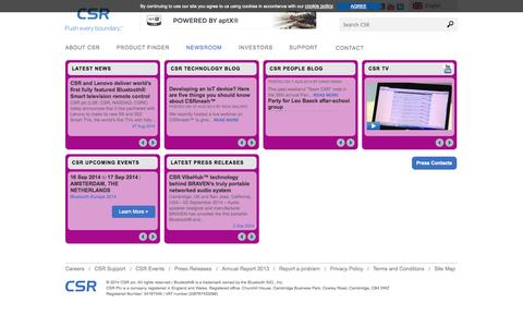 Screenshot of Press Page sirf.com - CSR PLC Newsroom and Press - captured Sept. 17, 2014