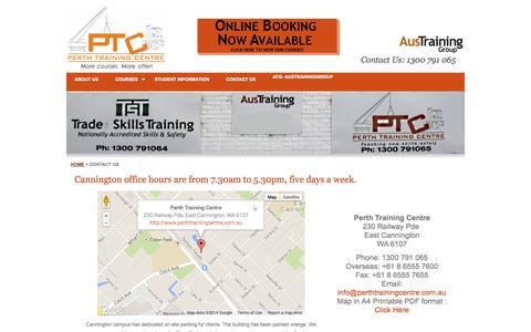 Screenshot of Contact Page Maps & Directions Page perthtrainingcentre.com.au - Perth Training Centre - Contact us ! - captured Oct. 23, 2014