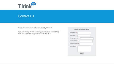 Screenshot of Landing Page thinkhr.com - Contact ThinkHR - captured June 21, 2017