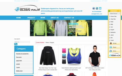 Screenshot of Products Page goldenpalm.com.cn - Best zip up hoodies mens polo shirts,yoga legging wear,sleeveless jacket - captured Aug. 18, 2017