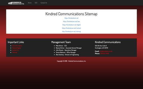 Screenshot of Site Map Page kindredcom.net - Kindred Communications Sitemap Information - captured Oct. 15, 2018