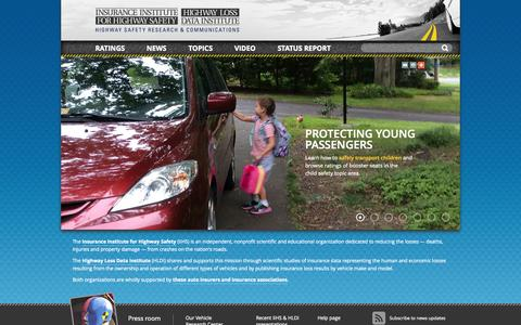 Screenshot of Home Page iihs.org - IIHS-HLDI: Crash Testing & Highway Safety - captured Sept. 23, 2014