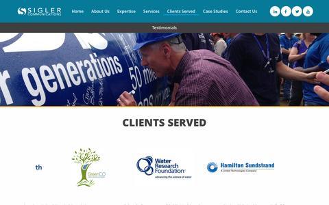 Screenshot of Testimonials Page siglercommunications.com - Clients Served - Sigler Communications, Inc. - captured Nov. 29, 2016