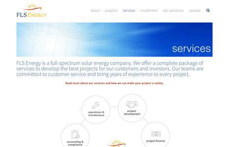 Screenshot of Services Page flsenergy.com - Solar Energy Services including solar financing, project development, engineering, and design | FLS Energy - captured Sept. 16, 2014