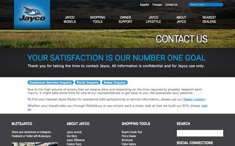 Screenshot of Contact Page jayco.com - Contact Us   Family RV   Jayco, Inc. - captured June 22, 2017