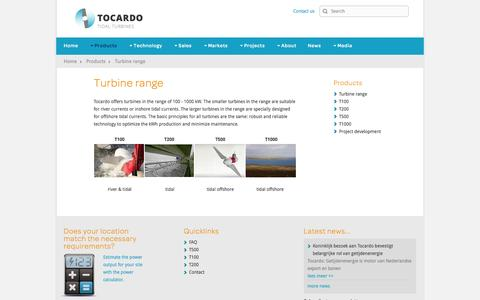 Screenshot of Products Page tocardo.com - Tocardo - tidal, river & ocean energy power turbines - Turbine range - captured Oct. 6, 2014