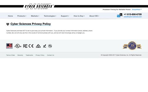 Screenshot of Privacy Page cyber-sciences.com - Privacy | Cyber Sciences - captured July 6, 2017