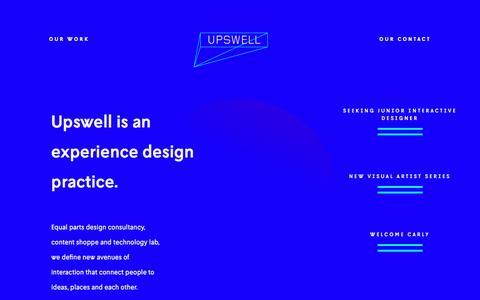 Screenshot of Home Page hello-upswell.com - Experience Design for Culture & Commerce - Upswell - captured Aug. 11, 2016