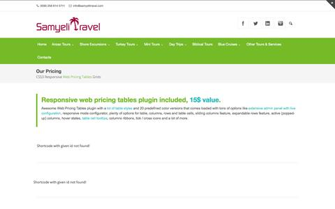 Screenshot of Pricing Page samyelitravel.com - Our Pricing - Samyeli Travel - captured Oct. 29, 2014
