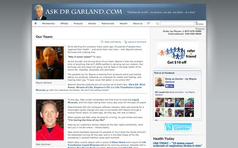Screenshot of Team Page askdrgarland.com - Our Team | Ask Dr Garland - captured Oct. 5, 2014