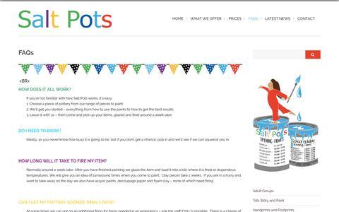Screenshot of FAQ Page saltpots.co.uk - FAQs | Salt Pots - captured Sept. 28, 2017