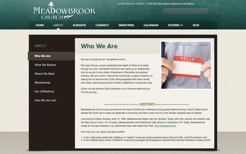 Screenshot of About Page meadowbrookchurch.com - Meadowbrook Church: Redmond, WA > Who We Are - captured June 16, 2016
