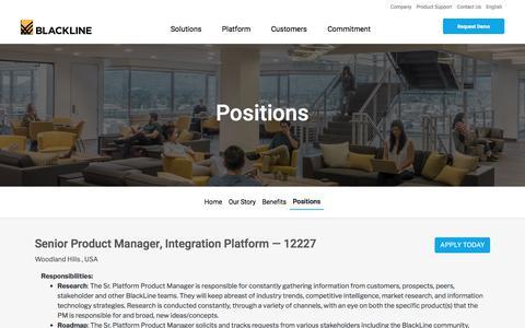 Screenshot of Jobs Page blackline.com - Senior Product Manager, Integration Platform| Woodland Hills, CA, United States - captured Nov. 29, 2019
