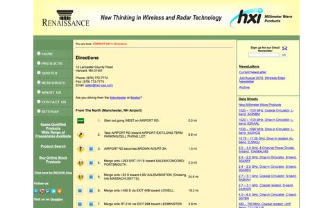 Screenshot of Maps & Directions Page rec-usa.com - Renaissance Electronics & Communications, LLC - Directions - captured Nov. 30, 2016
